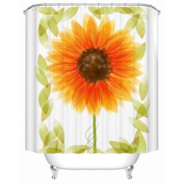 Lightful Gorgeous Sunflower Print Polyester Shower Curtain