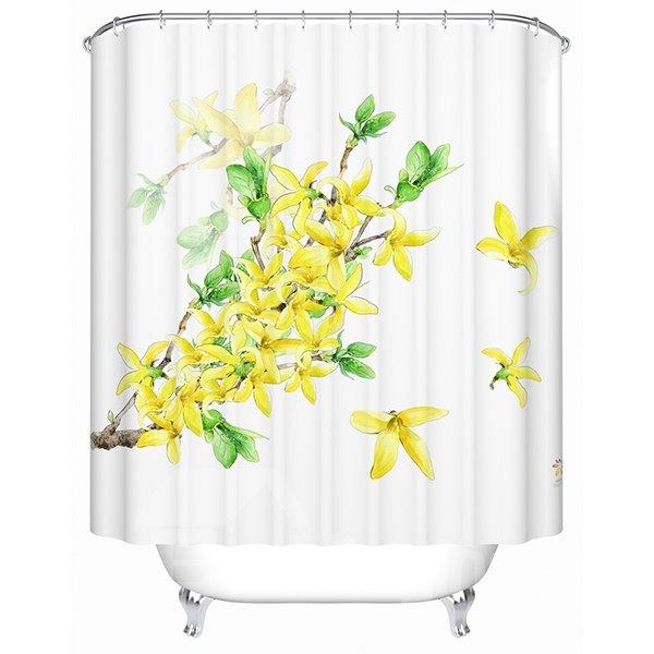 Gorgeous Blooming Jasminum Nudiflorum Print Shower Curtain