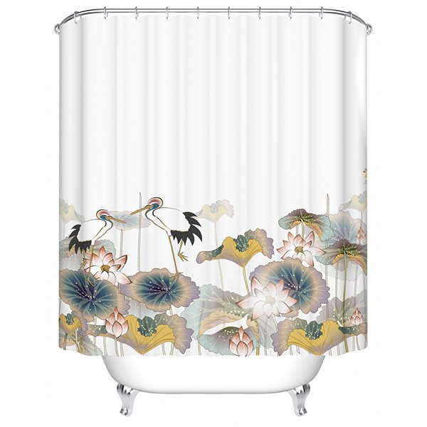 Chinoiserie Graceful Lotus Red-crowned Crane Shower Curtain
