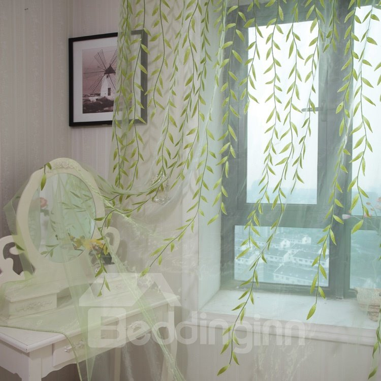 new arrival fresh green leaves pattern custom sheer curtain