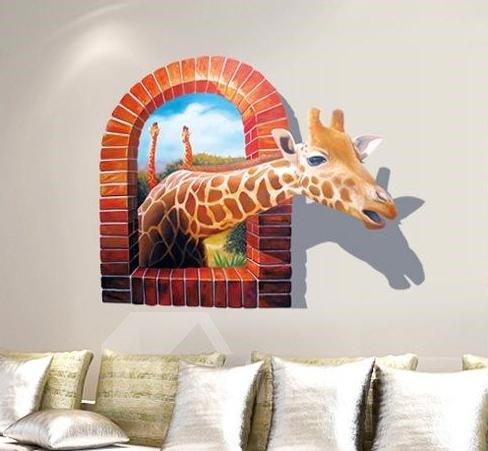 Wonderful Giraffe Break Through the Walls 3D Wall Sticker