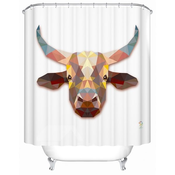 Unique 3D Prismatic Cattle Print Shower Curtain