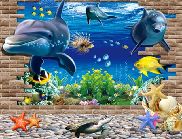 Fantastic Pretty 3D Dolphin Decorative Wall Stickers