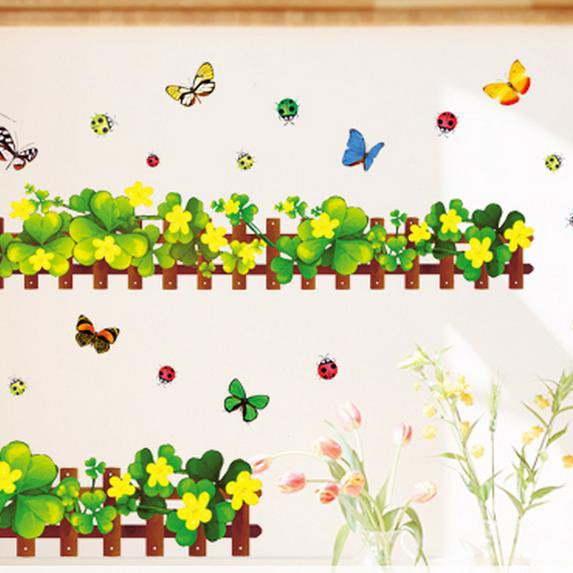 Wonderful Ladybug Clover Skirting Line Wall Stickers