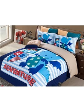 Dragon Adventure Print 4-Piece Polyester Duvet Cover Sets