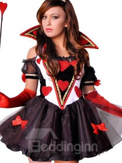 Queen Of Heart Cute Bowknot On Chiffon Dress Costume