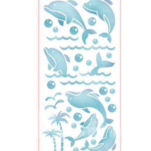Wonderful Simple Blue Dolphin Pattern Waterproof Tiles Wall Stickers