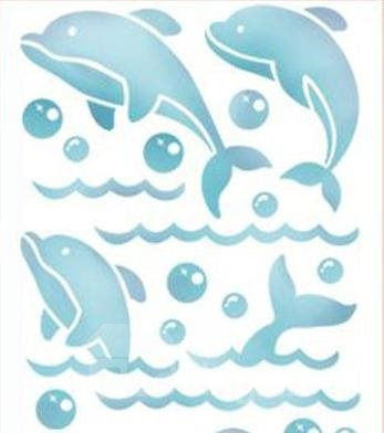 Wonderful Simple Blue Dolphin Pattern Waterproof Tiles Wall Stickers