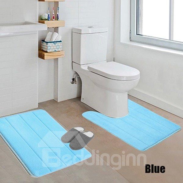 High Quality Comfy 2-piece Solid Color Bath Rug