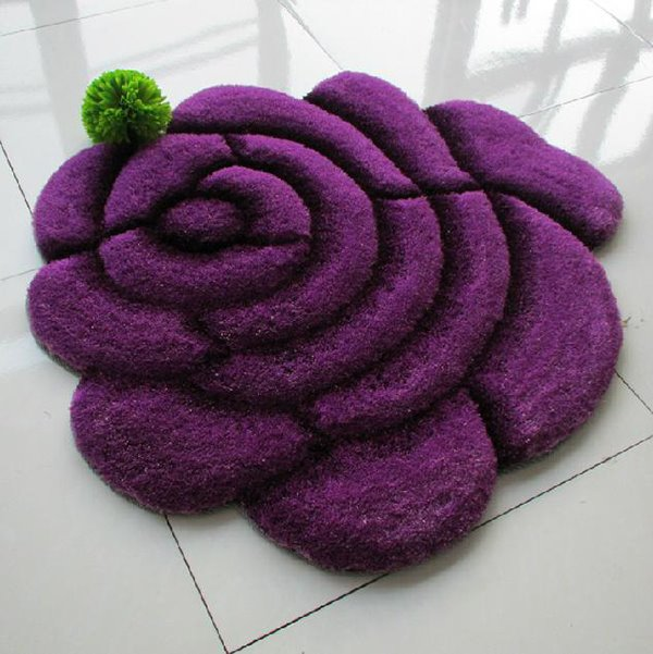 Romantic Vivid Comfy 3D Blooming Rose Dacron Rug