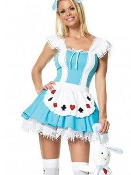 Poker Symbol Flutter Shoulder Blue Waitress Costume