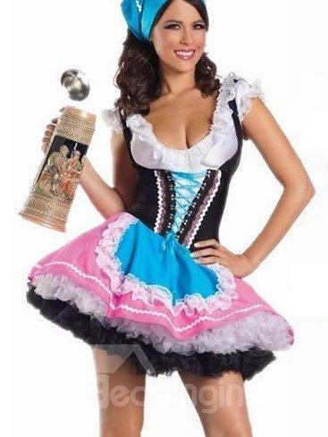 Layered Skirt U Neckline Strapped Under Bust Waitress Costume