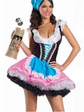 Layered Skirt U Neckline Strapped Under Bust Waitress Costume