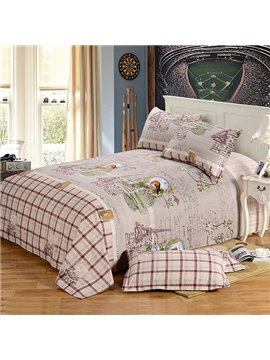 """""""Good Morning"""" Designed Countryside Style Cotton Printed Sheet"""