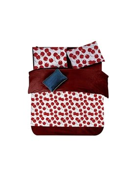 Bright Red Cherry Print 4-Piece Coral Fleece Duvet Cover Sets