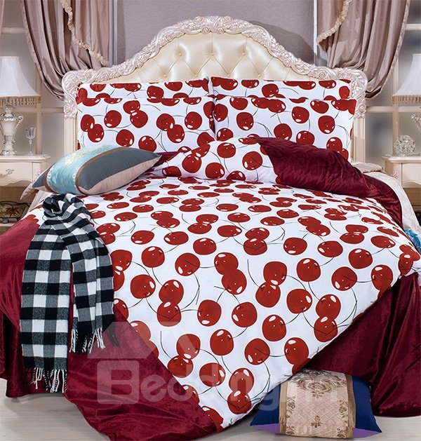 ... Bright Red Cherry Print 4 Piece Coral Fleece Duvet Cover Sets