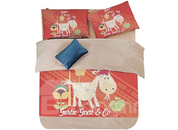 Goat and Flower Print 3-Piece Coral Fleece Duvet Cover Sets