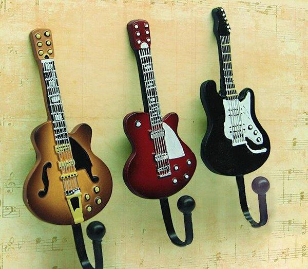 Unique Vintage Chic Guitar Shape 3 Piece Hooks