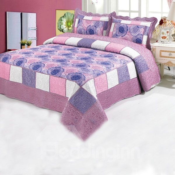 Grid Designed and Graceful Purple Flowers Printed Flocking Bed in a Bag