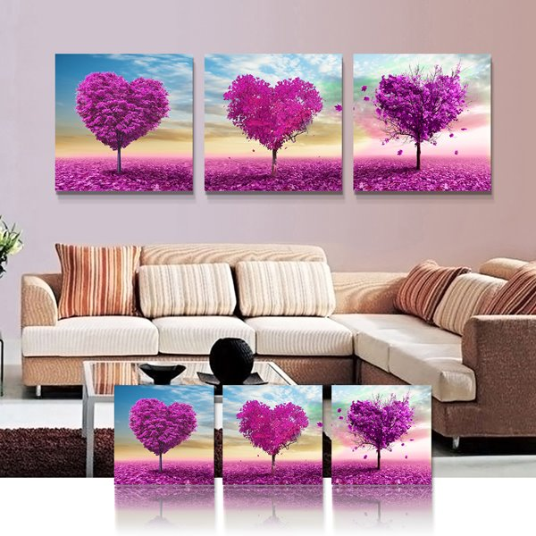 Excellence Flower Tree 3-Pieces of Crystal Film Art Wall Print