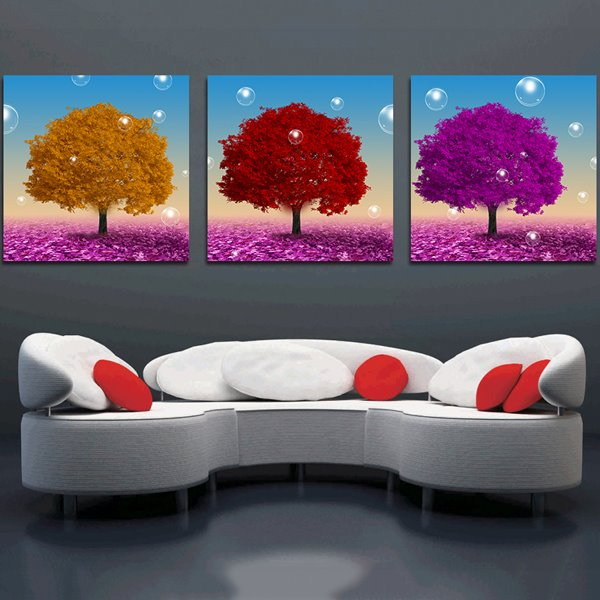 New Classic Colorful Trees 3-Piece Crystal Film Art Wall Print