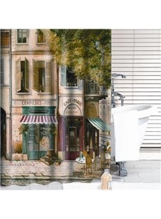 Vintage Classic Cafe House Print Thick Polyester Shower Curtain