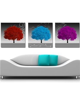 Wonderful 3-Piece Colorful Trees Crystal Film Art Wall Print