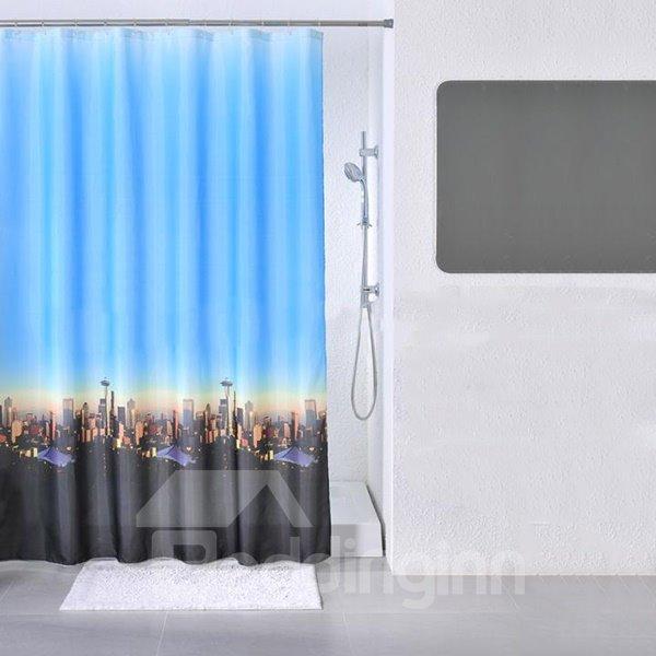 Dreamlike Twilight City Scene Print Dacron Shower Curtain