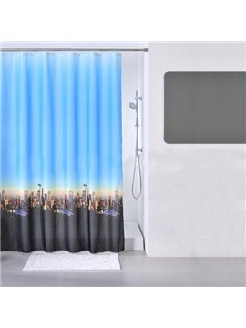 Dreamlike Twilight City Scene Print Dacron Shower Curtain
