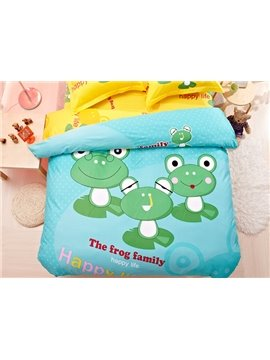 The Frog Family Print 4-Piece Natural Cotton Duvet Cover Sets