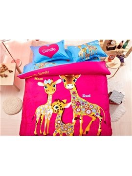 Beautiful Giraffe Family Print 4-Piece Natural Cotton Duvet Cover Sets
