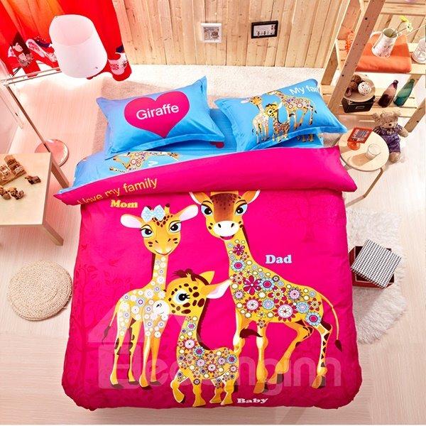 Beautiful Giraffe Family Print 4-Piece Natural Cotton Duvet Cover Sets