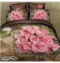 Forever Love Ring and Rose Print 4-Piece Cotton Duvet Cover Sets