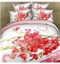 Romantic Red Floral and Heart-Shaped Print 4-Piece Cotton Duvet Cover Sets