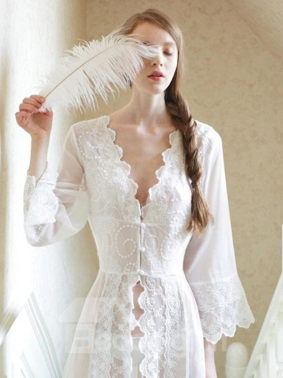 Comfy Embroidery Design Sexy Elegant Royal Long Nightgown