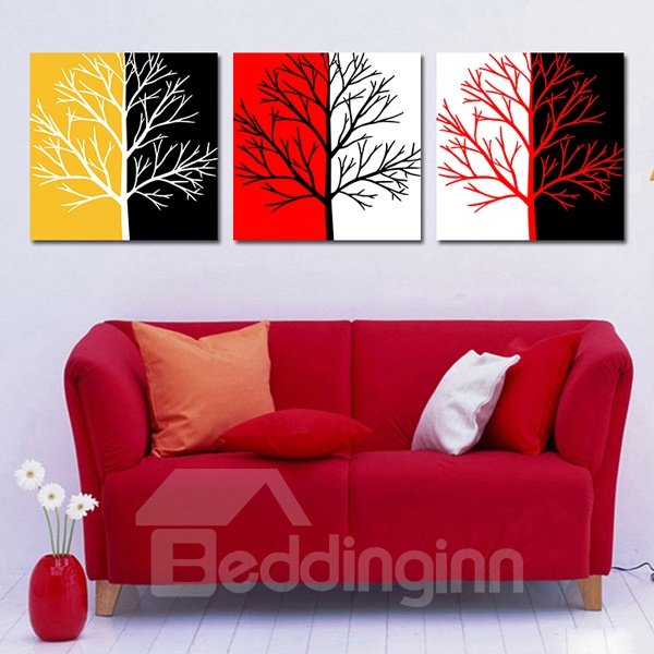 New Style Wonderful Tree 3-Piece Crystal Film Art Wall Print