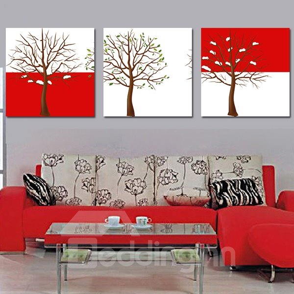 Wonderful Tree with Leaves 3-Piece Crystal Film Art Wall Print