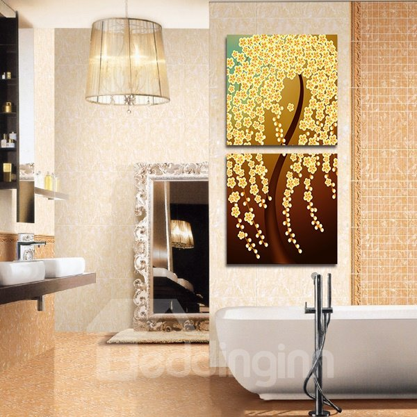 Yellow Flowers Tree 2-Piece Crystal Film Art Wall Print