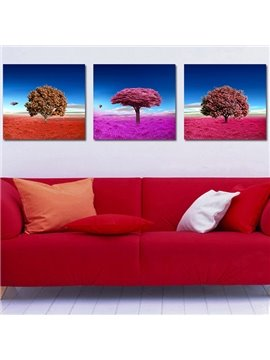 Colorful Grassland and Tree 3-Piece Crystal Film Art Wall Print