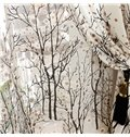 Breathable and Decorative Vivid Tree Printed Pastoral Style Beautiful Shading Sheer Curtain