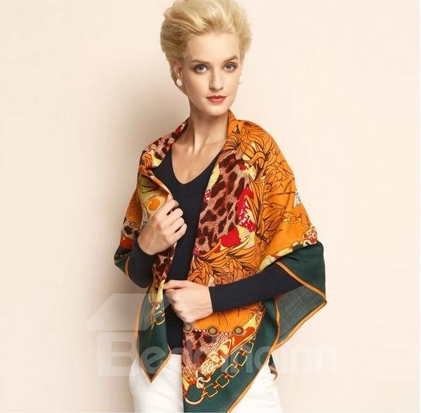 Wild Leopard Print Hand Made Edge Wool Shawl Square Scarf