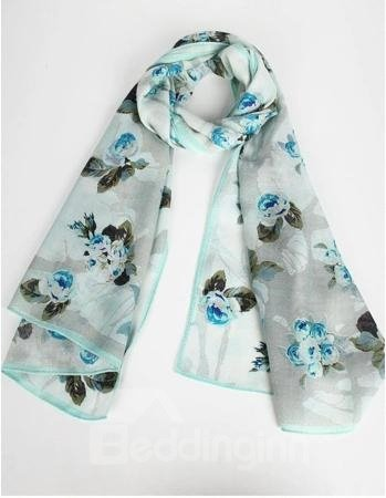 Flowers With Leaves Pattern Hand Made Edge Wool Long Scarf