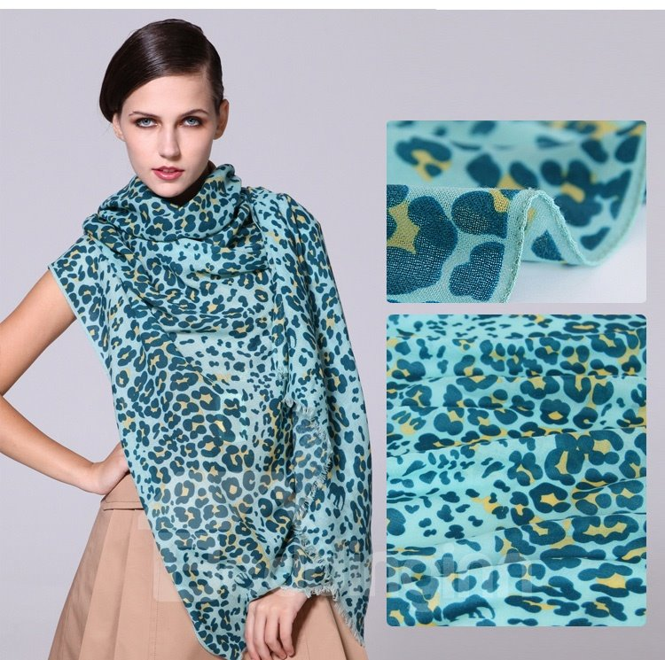 Leopard Spots Pattern Hand Made Edge Wool Long Scarf