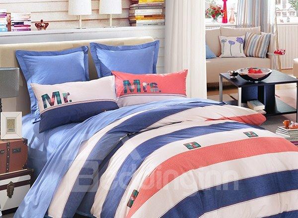 Mr&Mrs Stripe Pattern 4-Piece Cotton Duvet Cover Sets