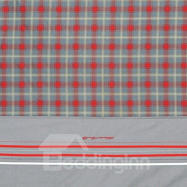 Red Grid Pattern 4-Piece Cotton Duvet Cover Sets
