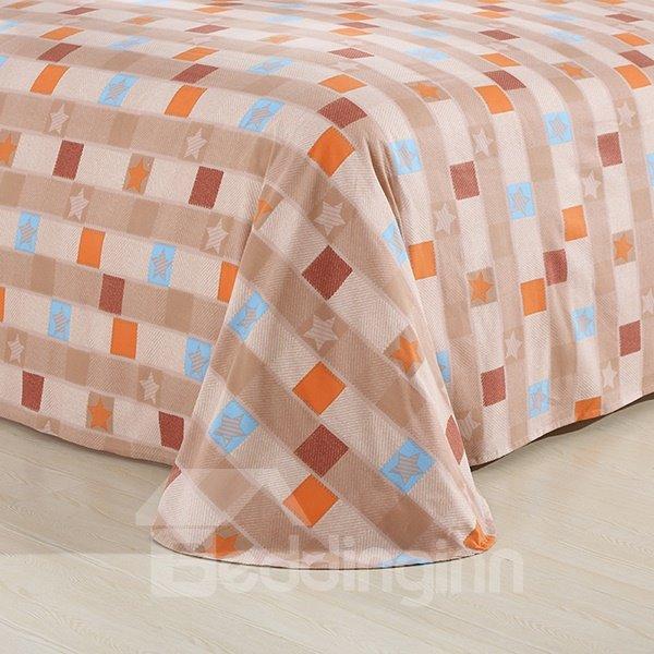 Modern Time Grid Pattern 4-Piece Cotton Duvet Cover Sets
