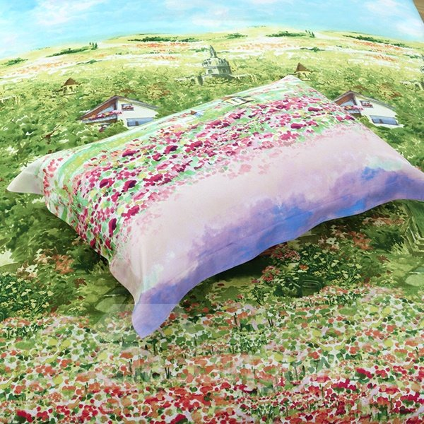 Mole Village Print 4-Piece Cotton Duvet Cover Sets
