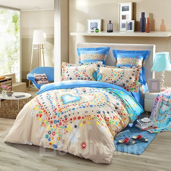 Blooming Heart Print 4-Piece Cotton Duvet Cover Sets