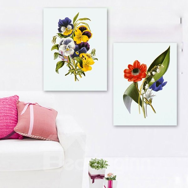 New Style Plant with Flowers 2-Piece Crystal Film Art Wall Print