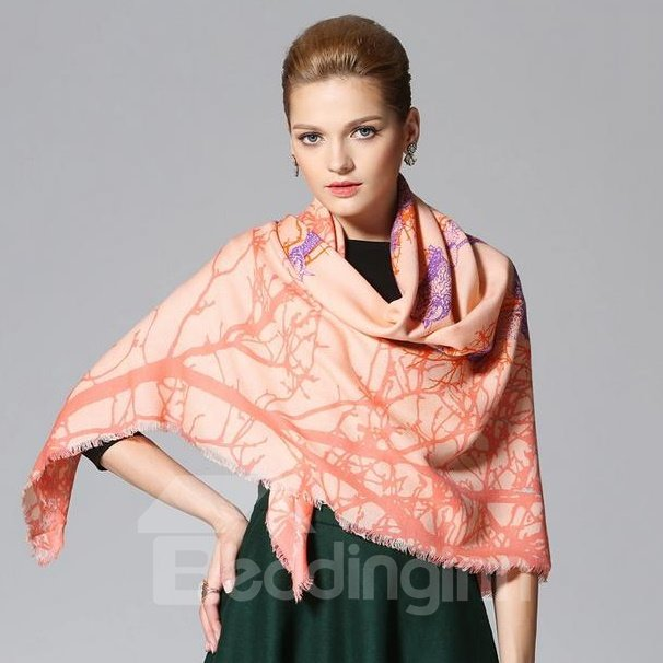 Letter YOUR And Trees Pattern Huge Wool Shawl Square Scarf